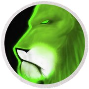 Leo Profile- Lime Round Beach Towel