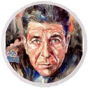 Leonard Cohen Painting Round Beach Towel
