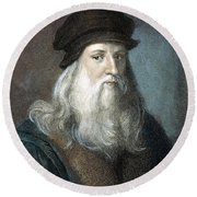 Leonardo Da Vinci - To License For Professional Use Visit Granger.com Round Beach Towel