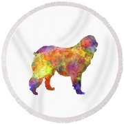 Leonberger In Watercolor Round Beach Towel
