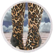 Leopard Boots With Ankle Straps Round Beach Towel
