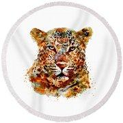 Leopard Head Watercolor Round Beach Towel