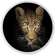 Leopard In The Dark Round Beach Towel
