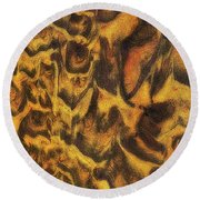 Leopard In The Sand Round Beach Towel