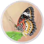Leopard Lacewing Butterfly #2 V2 Round Beach Towel