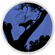 Leopard On The Prowl Round Beach Towel
