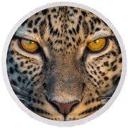 Leopard Panthera Pardus, Ndutu Round Beach Towel