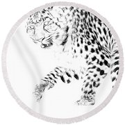 Leopard Spots Black And White Round Beach Towel