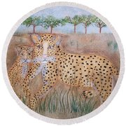 Leopard With Cub Round Beach Towel