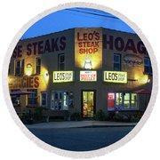 Leo's Steak Shop Round Beach Towel