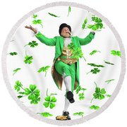 Leprechaun Tossing Shamrock Leaves Up In The Air Round Beach Towel by Oleksiy Maksymenko