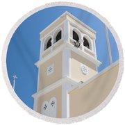 Lerapetra Church Steeple Round Beach Towel