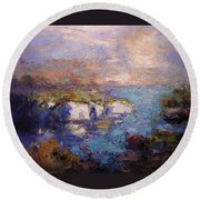 Les Calanques In Bright Light IIi Round Beach Towel