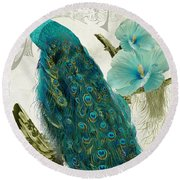 Les Paons Round Beach Towel