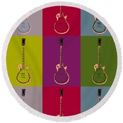 Les Paul Colorful Poster Round Beach Towel