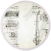 Les Paul Guitar Patent 1955 Round Beach Towel