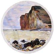 Les Petites Dalles Round Beach Towel by Claude Monet