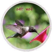 Lessons From Nature - Eat Well Round Beach Towel