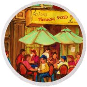 Lesters Monsieur Smoked Meat Round Beach Towel