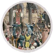 Let Him Be Crucified Round Beach Towel