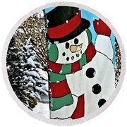 Let It Snow - Happy Holidays Round Beach Towel