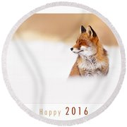Let It Snow 2 - New Years Card Red Fox In The Snow Round Beach Towel