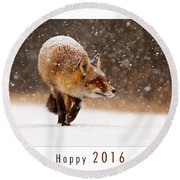 Let It Snow 4 - New Years Card Red Fox In The Snow Round Beach Towel