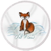 Let It Snow Round Beach Towel