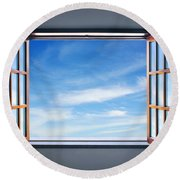 Let The Blue Sky In Round Beach Towel