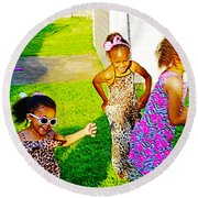 Let The Good Times Roll 1 Round Beach Towel