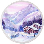 Swiss Mountain Cabins In Snow Round Beach Towel