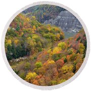 Letchworth Falls Sp Fall Colored Gorge Round Beach Towel