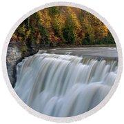 Letchworth Falls Sp Middle Falls Round Beach Towel