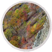 Letchworth Falls State Park Fall Colors Round Beach Towel