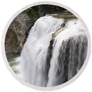 Letchworth Middle Falls Round Beach Towel by Michael Chatt