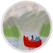 Let's Go Canoeing  Round Beach Towel
