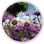 Two Bumblebees Discover The World Round Beach Towel
