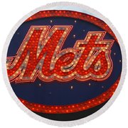 Lets Go Mets Round Beach Towel by Richard Bryce and Family