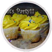 Let's Party Cupcakes Round Beach Towel