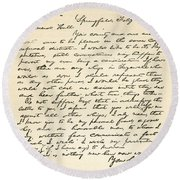 Letter From Abraham Lincoln To Alden Round Beach Towel