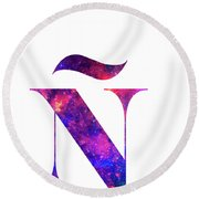 Letter Galaxy In White Background Round Beach Towel