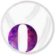 Letter O Galaxy In White Background Round Beach Towel