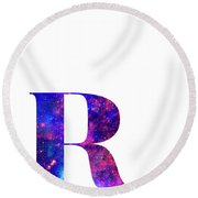 Letter R Galaxy In White Background Round Beach Towel