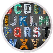 Letters Of The Alphabet Recycled Vintage License Plate Art With Apple Colorful School Nursery Kids Room Print Round Beach Towel