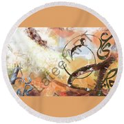 Letters Track Round Beach Towel