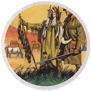 Lewis And Clark Expedition Scene Round Beach Towel