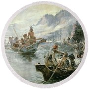 Lewis And Clark On The Lower Columbia River Round Beach Towel