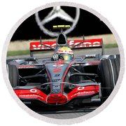 Lewis Hamilton, Mclaren- Mercedes Mp4-22 Round Beach Towel