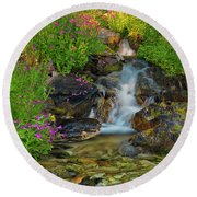 Lewis Monkey Flowers And Cascade Round Beach Towel