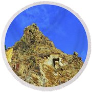 Leydon Hill With Cave Round Beach Towel